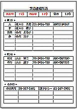 Excelで作成した緊急連絡先表